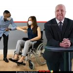 אברמי טורם נציב שוויון זכויות לאנשים עם מוגבלות ברקע; נכה בתקופת הקורנה עם חבר לתעסוקה | עיבוד ממחושב: שולי סונגו©